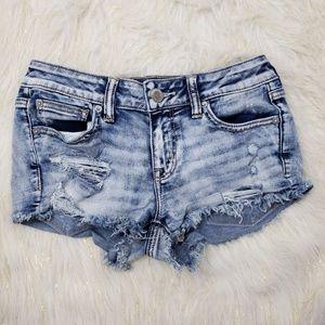 AEO Super Stretch Shortie Distressed Jean Shorts